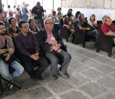 Durante la Feria Internacional del Libro. Al centro, Miguel Barnet, Presidente de la UNEAC