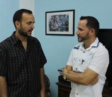 Diálogo entre los autores Antonio Nores (izq.) y Jesús Rivero
