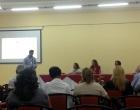 De izquierda a derecha Oliver Zamora, Mara Roque, Diana Rosa Schlachter en Taller de los medios audiovisuales