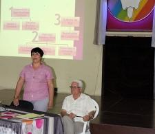 Directora Ejecutiva del CCRD-C, Lic Rita M. García Morris y asesor jurídico de Conferencia de Obispos Católicos de Cuba, Rolando Guillermo Suárez durante la reunión ordinaria