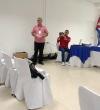 Luis M. Morales Álvarez,Coordinador de la Finca El Retiro, del CCRD-C, durante su presentación sobre el cultivo y uso de la flor de Jamaica