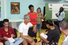 Carmen Xiomara, Xiomara Ulloa y Yaimaralis Aldazabal, facilitadoras (izquierda a derecha), orientan el trabajo en grupos de reflexión