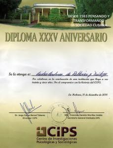 Diploma XXXV Aniversario, entregado por el CIPS al CCRD-C